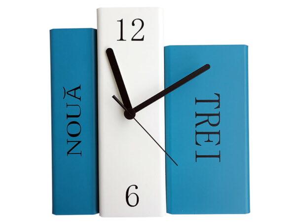 ceas de biblioteca alb