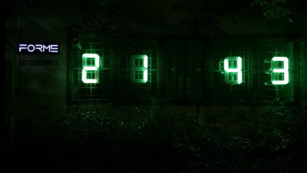 ceas digital albastru verde