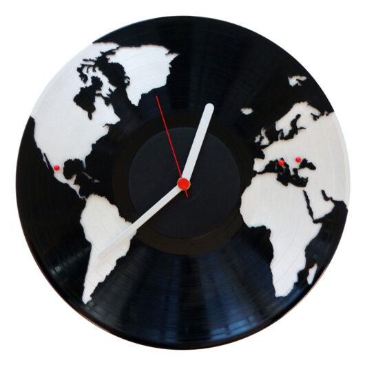 harta lumii tale ceas vinil perete