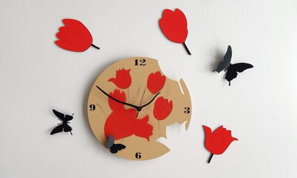 ceas perete flori lalele rosii