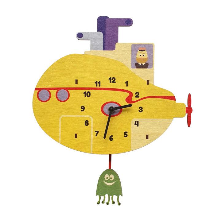 Submarinul galben ceas perete pendulă